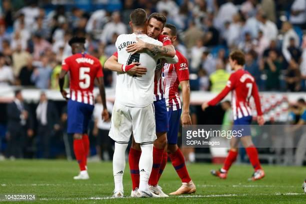 Sergio Ramos salute to Saul at the end of the La Liga match between Real Madrid and Club Atletico de Madrid at Estadio Santiago Bernabéu in Madrid,...