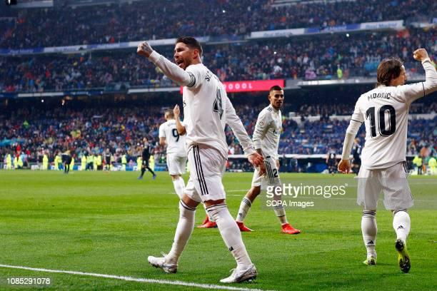 Sergio Ramos seen celebrating a goal during the La Liga football match between Real Madrid and Sevilla FC at the Estadio Santiago Bernabéu in Madrid