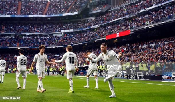 Sergio Ramos seen celebrating after scoring a goal during the La Liga match between Real Madrid and Real Valladolid at the Estadio Santiago Bernabéu...