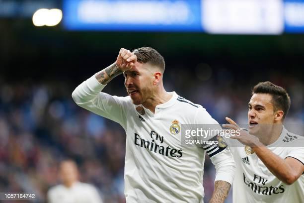 Sergio Ramos seen celebrating after scoring a goal during the La Liga match between Real Madrid and Real Valladolid at the Estadio Santiago Bernabéu....