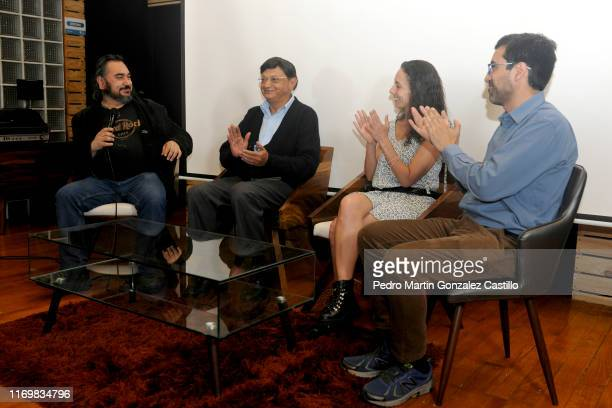 Sergio Raul Franco Legarreta Andrea Barbier and Gabriel Reyes speak during the premiere of the film La Fundacion de Lucia on August 22 2019 in Mexico...