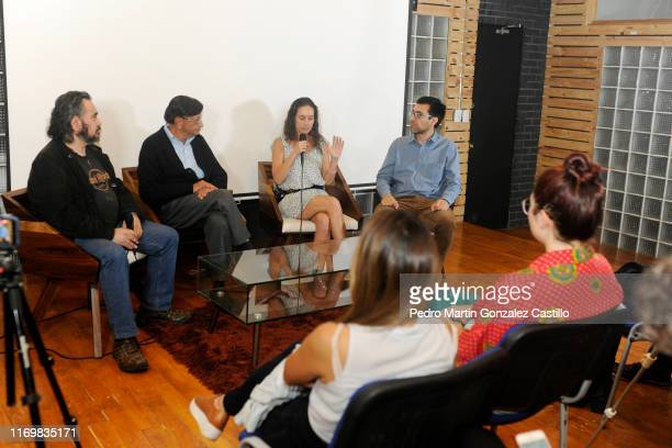 Sergio Raul Franco Legarreta Andrea Barbier and Gabriel Reyes speak during the premiere of the film La Fundacion de Lucia on August 22 2019 in Mexico...