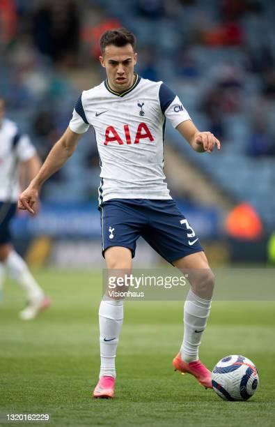 Sergio Reguilón of Tottenham Hotspur in action during the Premier League match between Leicester City and Tottenham Hotspur at The King Power Stadium...
