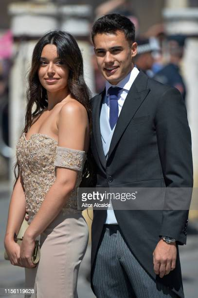 Sergio Reguilon and Marta Diaz attend the wedding of real Madrid football player Sergio Ramos and Tv presenter Pilar Rubio at Seville's Cathedral on...