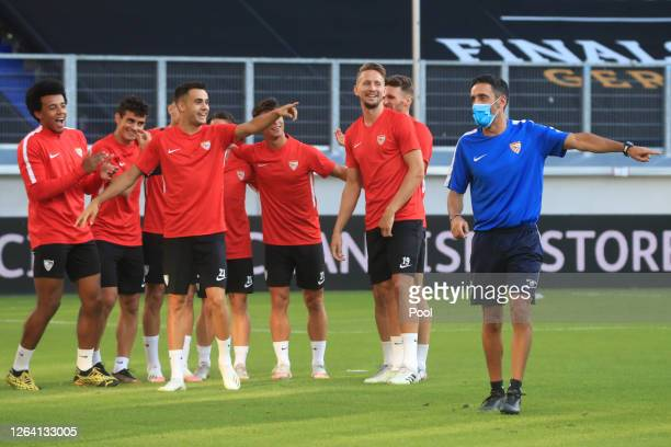 Sergio Reguilon and team mates share a joke during an Sevilla FC Training Session And Press Conference at MSV Arena on August 05 2020 in Duisburg...
