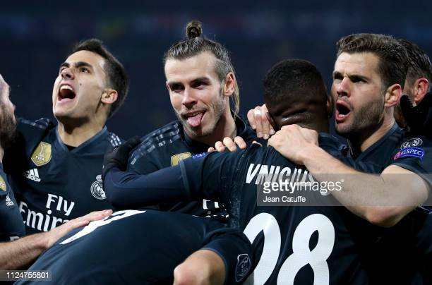 Sergio Reguilon Gareth Bale Nacho Fernandez celebrate the goal of Karim Benzema of Real Madrid during the UEFA Champions League Round of 16 first leg...