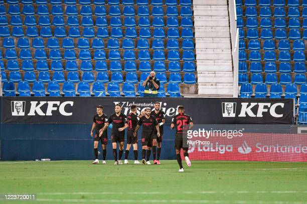 Sergio Reguilon Lucas Ocampos Munir El Haddadi Ever Banega Youssef EnNesyri and Fernando celebrates a goal during La Liga match between CD Leganes...
