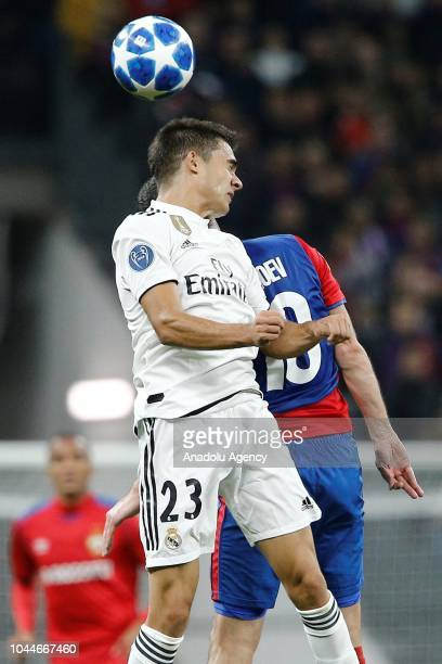 Sergio Reguilon of Real Madrid in action against Alan Dzagoev of CSKA Moscow during UEFA Champions League Group G soccer match between CSKA Moscow...