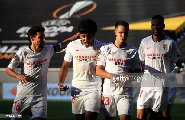 Sergio Reguilon of Sevilla celebrates after scoring his sides first goal during the UEFA Europa League round of 16 single-leg match between Sevilla...