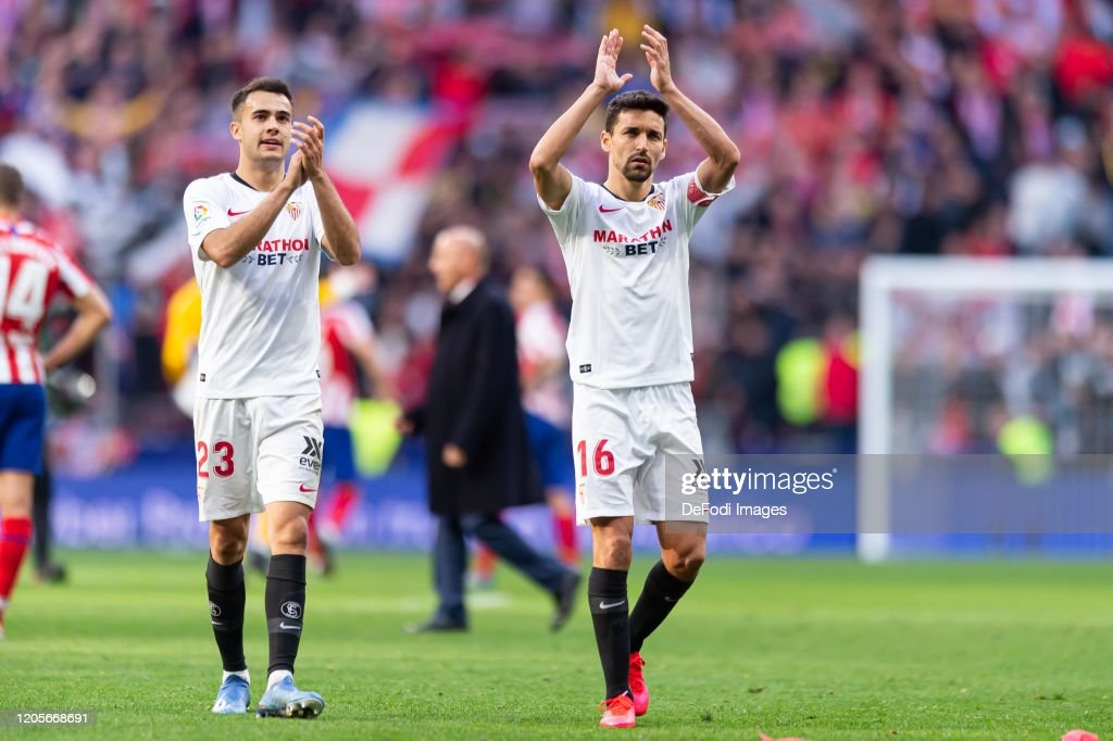 Sergio Reguilon of Sevilla FC and Jesus Navas of Sevilla FC ...