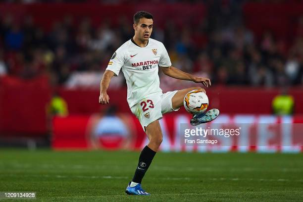 Sergio Reguilon of Sevilla FC in action during the UEFA Europa League round of 32 second leg match between Sevilla FC and CFR Cluj at Estadio Ramon...