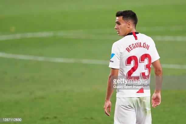 Sergio Reguilon of Sevilla FC looks on during the La Liga match between Sevilla FC and Valencia CF at Estadio Ramon Sanchez Pizjuan on July 19, 2020...