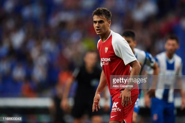 Sergio Reguilon of Sevilla FC looks on during the Liga match between RCD Espanyol and Sevilla FC at RCDE Stadium on August 18, 2019 in Barcelona,...
