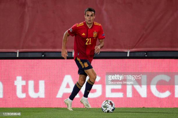 Sergio Reguilon of Spain during the UEFA Nations league match between Spain v Ukraine at the Alfredo Di Stefano Stadium on September 6, 2020 in...