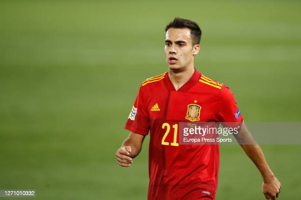 Sergio Reguilon of Spain looks on during the Nations League football match played between Spain and Ukraine at Alfredo Di Stefano stadium on...