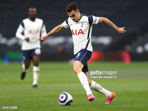 Sergio Reguilon of Spurs in action during the Premier League match between Tottenham Hotspur and Southampton at Tottenham Hotspur Stadium on April...