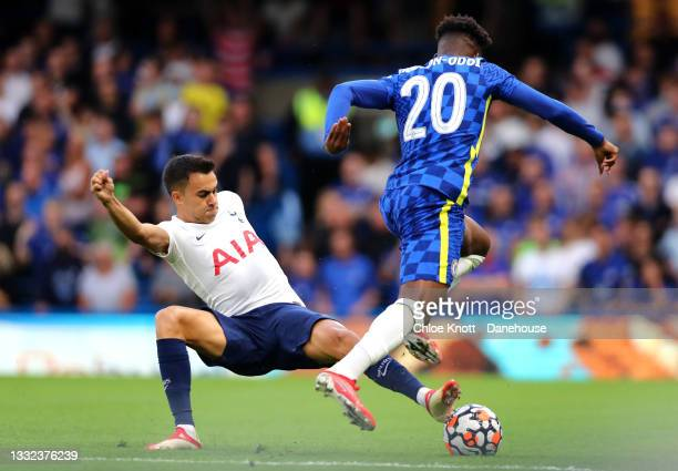 Sergio Reguilon of Tottenham Hotspur and Callum Hudson Odoi of Chelsea FC in action during the Pre Season Friendly between Chelsea and Tottenham...