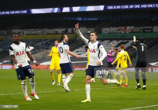 Sergio Reguilon of Tottenham Hotspur celebrates after scoring their team's second goal which is later disallowed during the Premier League match...