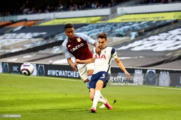 Sergio Reguilon of Tottenham Hotspur in action with Ezri Konsa of Aston Villa during the Premier League match between Tottenham Hotspur and Aston...