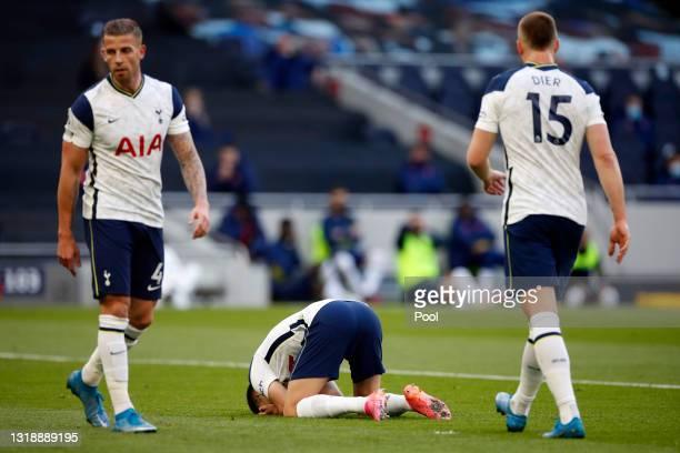 Sergio Reguilon of Tottenham Hotspur looks dejected after scoring an own goal during the Premier League match between Tottenham Hotspur and Aston...