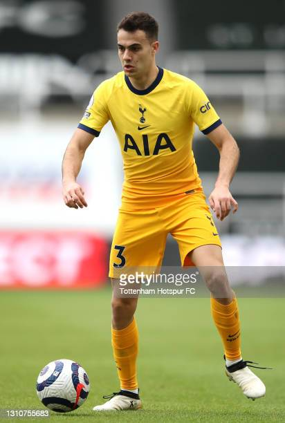 Sergio Reguilon of Tottenham Hotspur on the ball during the Premier League match between Newcastle United and Tottenham Hotspur at St. James Park on...
