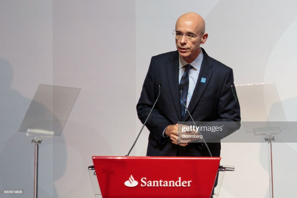 Sergio Rial, chief executive officer for Banco Santander Brasil SA, speaks during the Annual Santander Conference in Sao Paulo, Brazil, on Wednesday, Aug. 16, 2017. Michel Temer, Brazil's president, announced that he will travel to China at the end of the month to meet with the business community as interest in investing in Brazil grows. Photographer: Patricia Monteiro/Bloomberg via Getty Images
