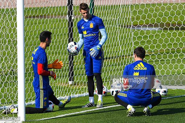 Sergio Rico David de Gea and Iker Casillas of Spain during a training session at Complexe Sportif Marcel Gaillard on June 23 2016 in La Rochelle...