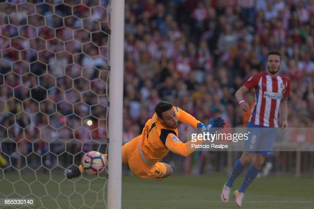Sergio Rico goalkeeper of Sevilla fails to stop a goal during the La Liga match between Club Atletico de Madrid and Sevilla FC at Vicente Calderon...