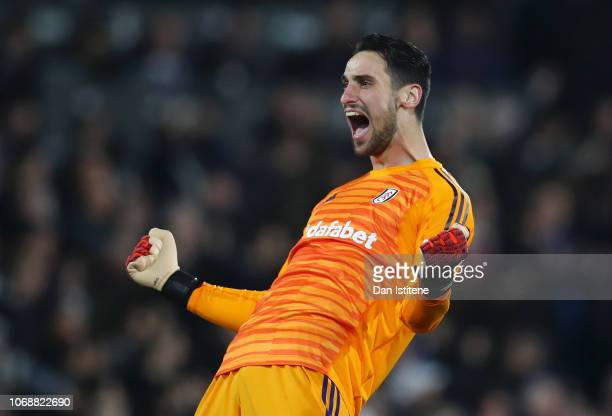 Sergio Rico of Fulham celebrates after his team mate Aboubakar Kamara of Fulham scored their team's first goal during the Premier League match...