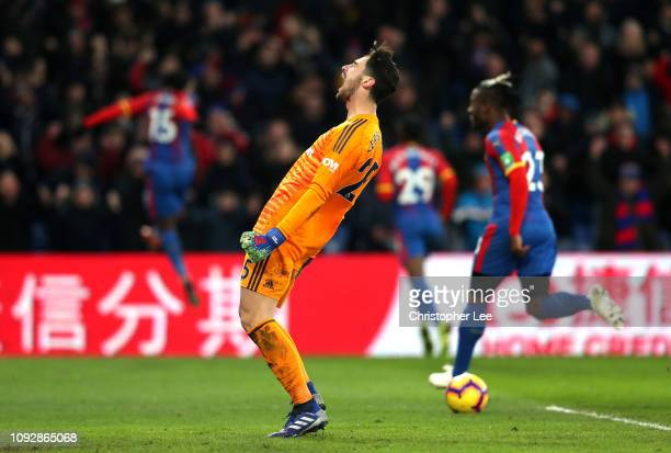 Sergio Rico of Fulham reacts as Jeffrey Schlupp of Crystal Palace celebrates after scoring his team's second goal during the Premier League match...