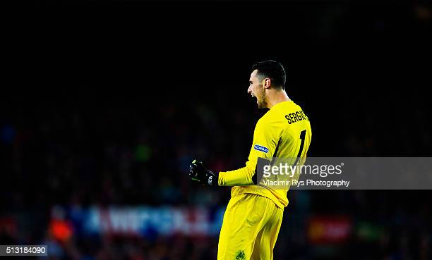 Sergio Rico of Sevilla celebrates his team's first goal during the La Liga match between FC Barcelona and Sevilla FC at Camp Nou on February 28 2016...
