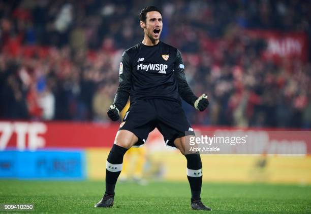 Sergio Rico of Sevilla FC celebrates after his teammate Pablo Sarabia scoring his team's third goal during the Copa del Rey Quarter Final second Leg...