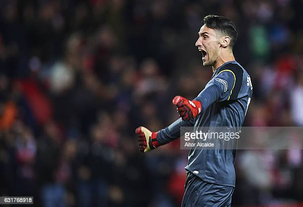 Sergio Rico of Sevilla FC celebrates after winning the match against Real Madrid CF during the La Liga match between Sevilla FC and Real Madrid CF at...