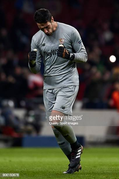 Sergio Rico of Sevilla FC celebrates his team's second goal during the Copa del Rey Round of 8 first Leg match between Atletico de Madrid and Sevilla...