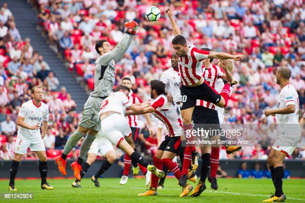 Sergio Rico of Sevilla FC competes for the ball with Unai Nunez of Athletic Club during the La Liga match between Athletic Club Bilbao and Sevilla FC...