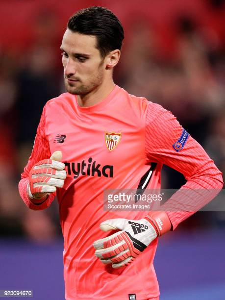 Sergio Rico of Sevilla FC during the UEFA Champions League match between Sevilla v Manchester United at the Estadio Ramon Sanchez Pizjuan on February...