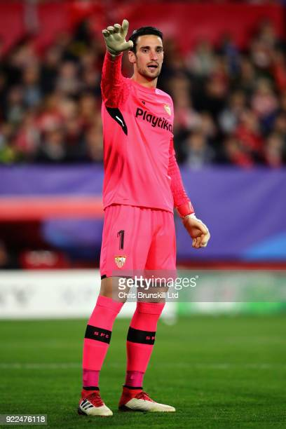 Sergio Rico of Sevilla FC gestures during the UEFA Champions League Round of 16 First Leg match between Sevilla FC and Manchester United at Estadio...