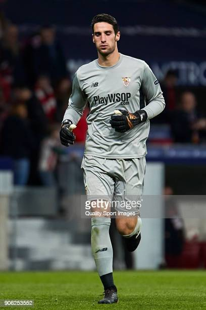 Sergio Rico of Sevilla FC in action during the Copa del Rey Round of 8 first Leg match between Atletico de Madrid and Sevilla FC at Estadio Wanda...
