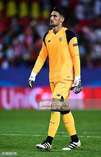 Sergio Rico of Sevilla FC looks on during the UEFA Champions League Group H match between Sevilla FC and Olympique Lyonnais at the Ramon...