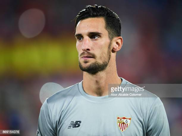 Sergio Rico of Sevilla FC looks on priot to the UEFA Champions League group E match between Sevilla FC and Spartak Moskva at Estadio Ramon Sanchez...