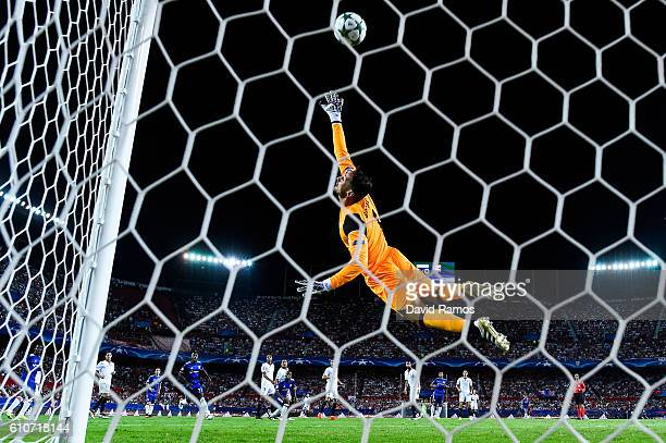 Sergio Rico of Sevilla FC makes a safe during the UEFA Champions League Group H match between Sevilla FC and Olympique Lyonnais at the Ramon...