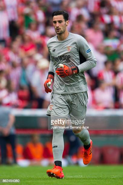 Sergio Rico of Sevilla FC reacts during the La Liga match between Athletic Club Bilbao and Sevilla FC at San Mames Stadium on October 14 2017 in...
