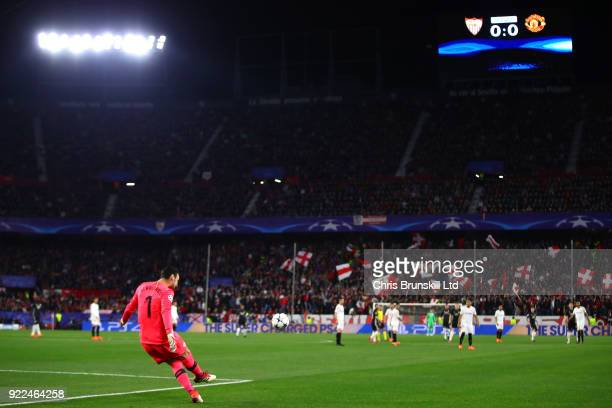 Sergio Rico of Sevilla FC takes a freekick during the UEFA Champions League Round of 16 First Leg match between Sevilla FC and Manchester United at...