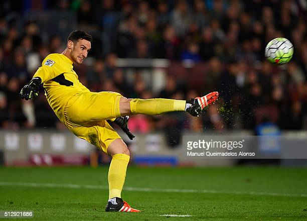 Sergio Rico of Sevilla in action during the La Liga match between FC Barcelona and Sevilla FC at Camp Nou on February 28 2016 in Barcelona Spain