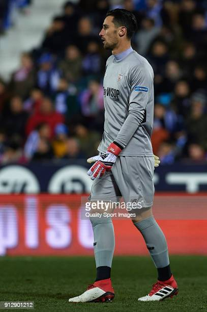 Sergio Rico of Sevilla looks on during the Copa del Rey semifinal first leg match between CD Leganes and Sevilla FC at Estadio Municipal de Butarque...