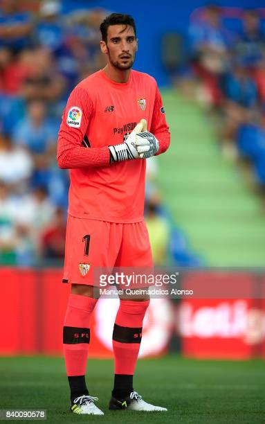 Sergio Rico of Sevilla looks on during the La Liga match between Getafe and Sevilla at Coliseum Alfonso Perez on August 27 2017 in Getafe Spain