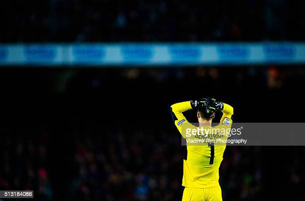 Sergio Rico of Sevilla reacts during the La Liga match between FC Barcelona and Sevilla FC at Camp Nou on February 28 2016 in Barcelona Spain