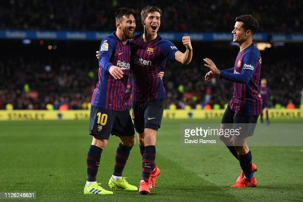 Sergio Roberto of Barcelona celebrates scoring the fourth goal alongside Lionel Messi and Philippe Coutinho during the Copa del Rey Quarter Final...