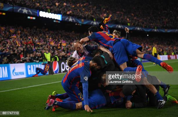 Sergio Roberto of Barcelona is congratulated on scoring the sixth goal during the UEFA Champions League Round of 16 second leg match between FC...