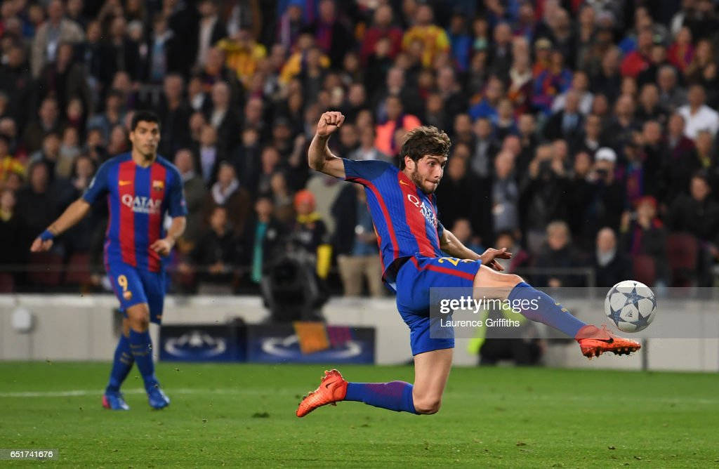 Sergio Roberto of Barcelona scores their sixth goal during the UEFA Champions League Round of 16 second leg match between FC Barcelona and Paris Saint-Germain at Camp Nou on March 8, 2017 in Barcelona, Spain.
